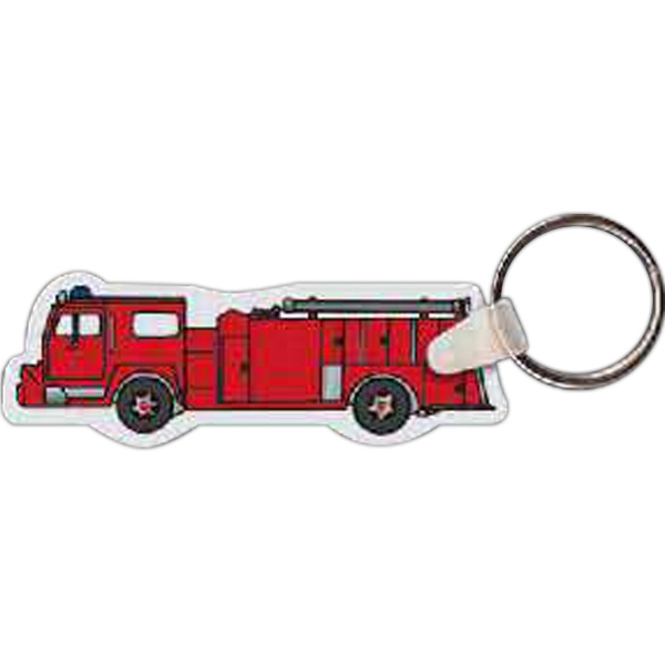 "3"" X 1"" - Fire Truck Shaped Key Tag Photo"