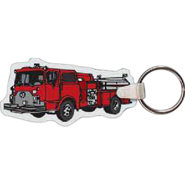 "3"" X 1.49"" - Fire Truck Shaped Key Tag Photo"