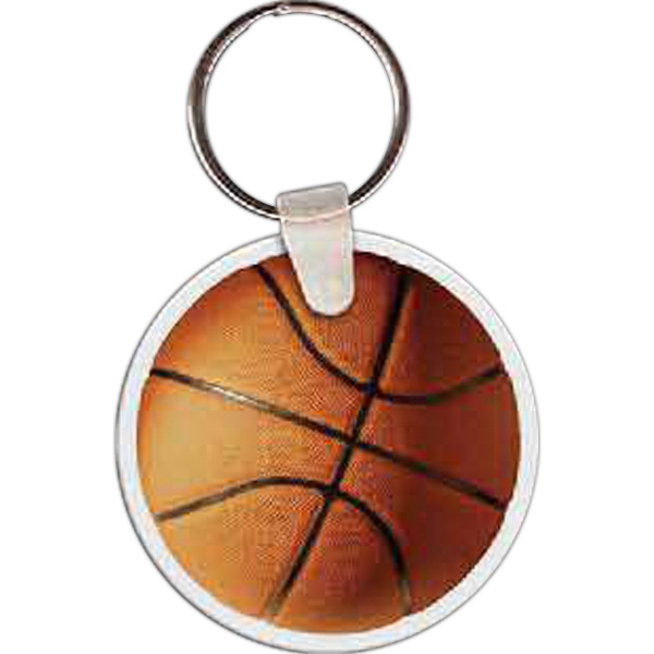 "Basketball Shaped Key Tag, 2"" W X 2"" H Photo"