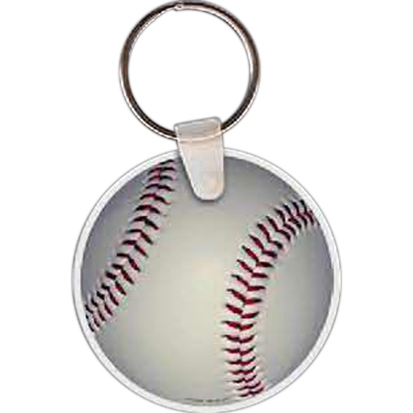 "Baseball Shaped Key Tag, 2"" W X 2"" H Photo"