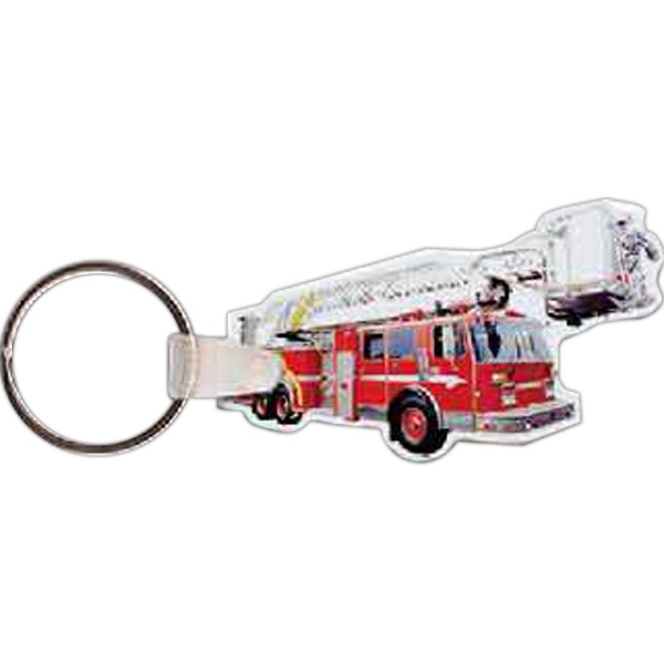 "2.42"" X 1.42"" - Fire Truck Shaped Key Tag Photo"