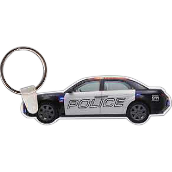 "Full Color On White Item - Full Color Police Car Shaped Key Tag, 3.10"" W X 1.06"" H Photo"