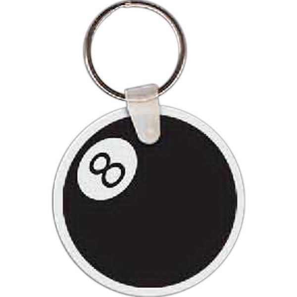 "8 Ball Shaped Key Tag, 2"" W X 2"" H Photo"