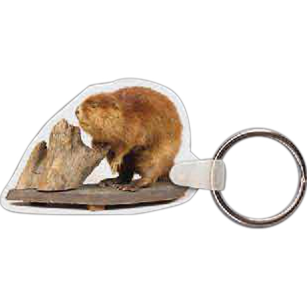 "2.25"" X 1.5"" - Beaver Shaped Key Tag Photo"