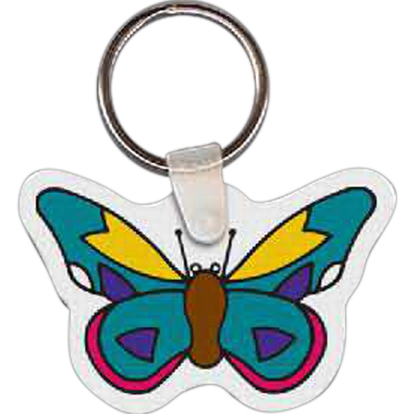 "2.35"" X 1.53"" - Butterfly Shaped Key Tag Photo"