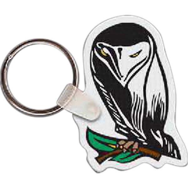 "1.60"" X 2.14"" - Owl Shaped Key Tag Photo"