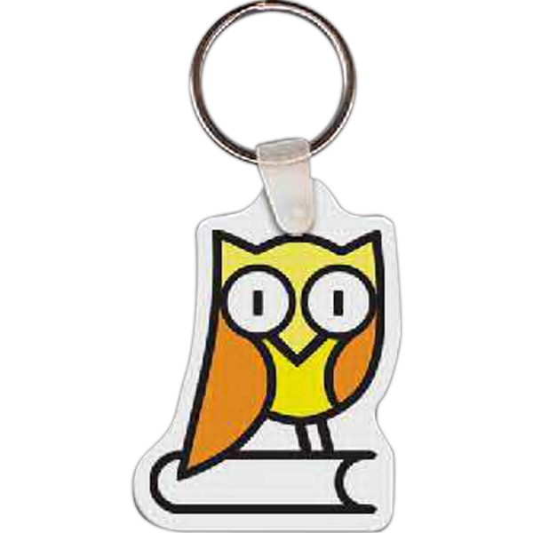 "1.70"" X 2.27"" - Owl Shaped Key Tag Photo"