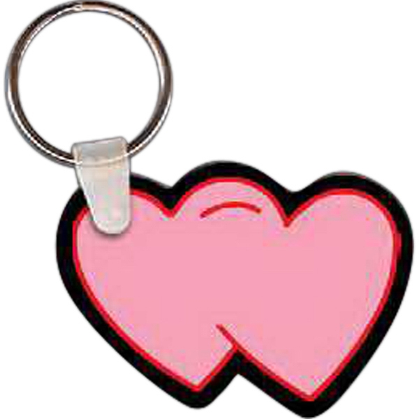 "Full Color On White Item - Full Color Two Heart Shaped Key Tag, 2.29"" W X 1.63"" H Photo"