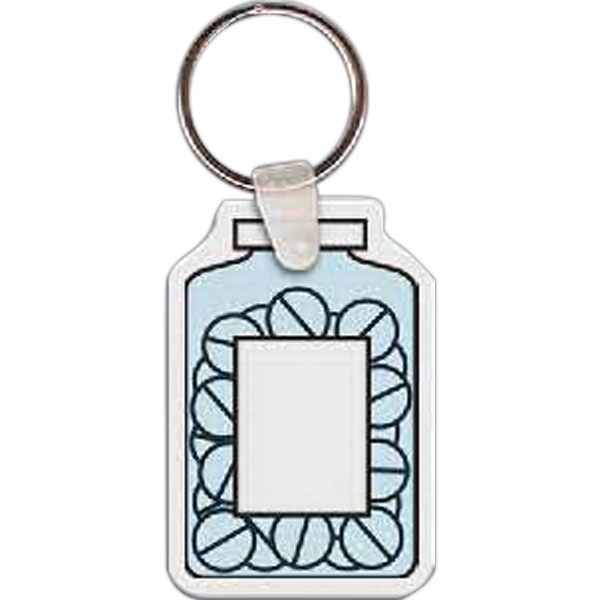 "Full Color On White Item - Full Color Bottle Of Pills Shaped Key Tag, 1.49"" W X 2.2"" H Photo"