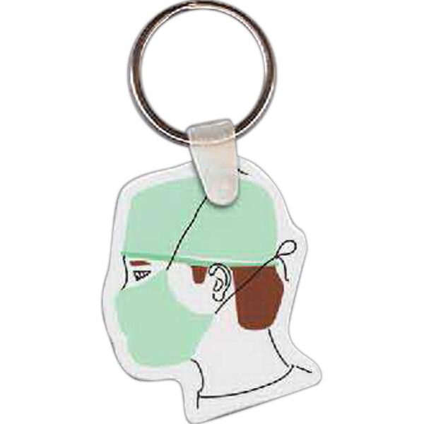 "Full Color On White Item - Full Color Doctor Shaped Key Tag, 1.61"" W X 1.99"" H Photo"