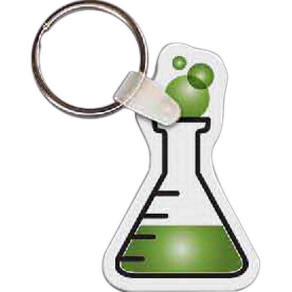 "Full Color On White Item - Full Color Flask Shaped Key Tag, 1.42"" W X 2.25"" H Photo"