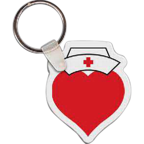 "Full Color On White Item - Full Color Heart With Nurse Hat Shaped Key Tag, 1.67"" W X 2"" H Photo"