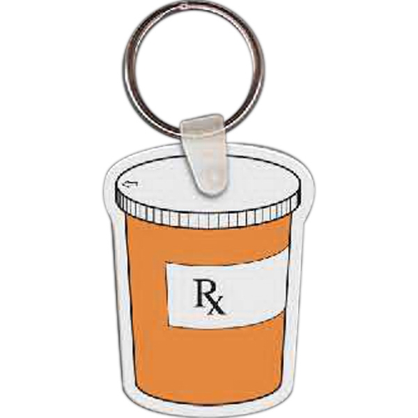 "Full Color On White Item - Full Color Pill Bottle Shaped Key Tag, 1.6"" W X 2.1"" H Photo"
