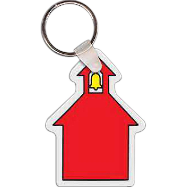 "Full Color On White Item - Full Color School House Shaped Key Tag, 1.88"" W X 2.57"" H Photo"
