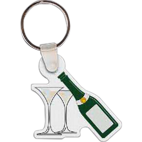 "Full Color On Color Item - Full Color Champagne And Glasses Shaped Key Tag, 1.89"" W X 1.85"" H Photo"