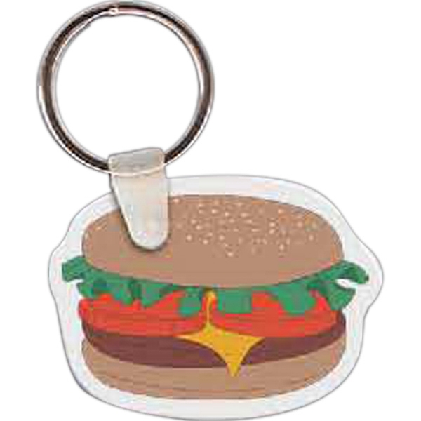 "2.04"" X 1.5"" - Hamburger Shaped Key Tag Photo"
