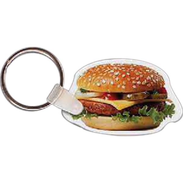 "2.01"" X 1.26"" - Hamburger Shaped Key Tag Photo"