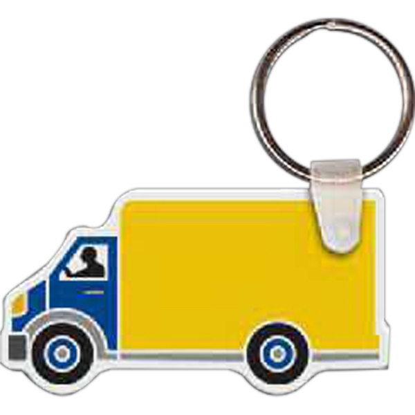 "2.5"" X 1.31"" - Box Truck Shaped Key Tag Photo"