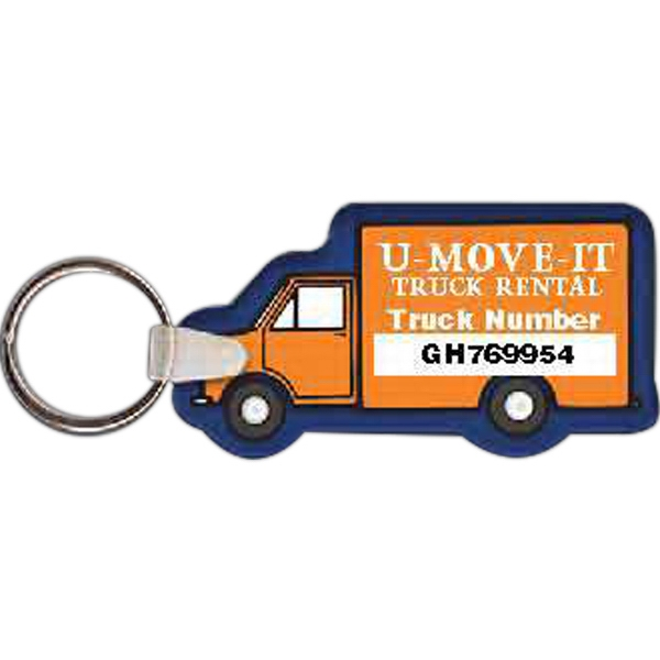 "3"" X 1.62"" - Box Truck Shaped Key Tag Photo"