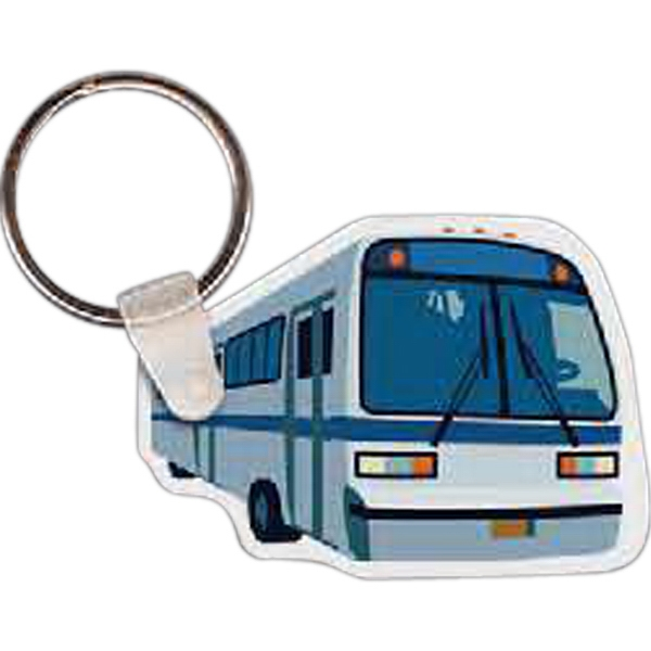 "Full Color On White Item - Full Color Charter Bus Shaped Key Tag, 2.15"" W X 1.5"" H Photo"