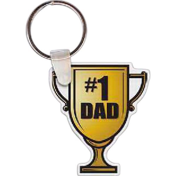 "Full Color On White Item - Full Color Number 1 Dad Trophy Shaped Key Tag, 1.76"" W X 2.01"" H Photo"