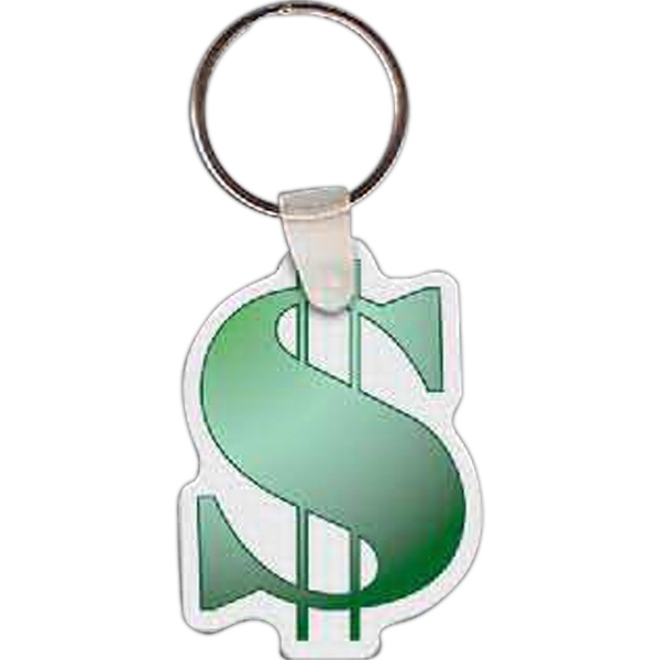 "Full Color On White Item - Full Color Dollar Sign Key Tag, 1.47"" W X 2.06"" H Photo"
