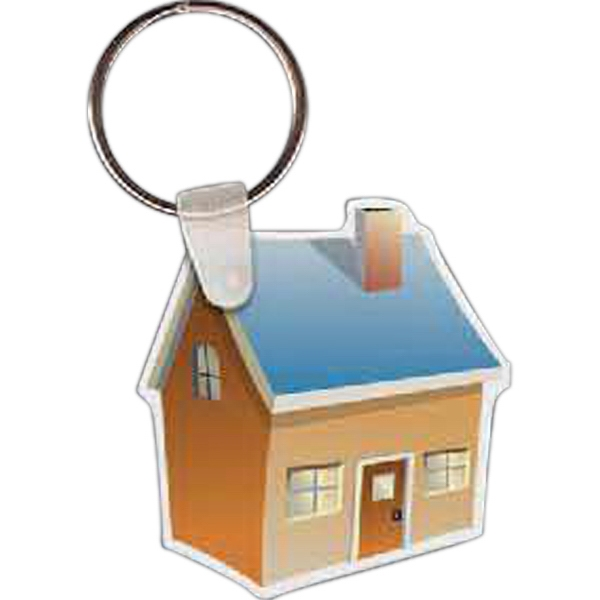 "Full Color On Color Item - 1.8"" X 1.94"" - Full Color House Shaped Key Tag Photo"