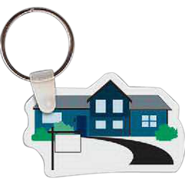 "Full Color On Color Item - 2.29"" X 1.49"" - Full Color House Shaped Key Tag Photo"