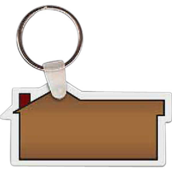 "Full Color On Color Item - 2.5"" X 1.25"" - Full Color House Shaped Key Tag Photo"