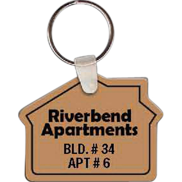 "Full Color On Color Item - 2.27"" X 1.75"" - Full Color House Shaped Key Tag Photo"