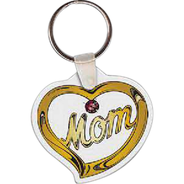 "Full Color On White Item - Full Color Mothers Day Pendant Shape Key Tag, 2"" X 1.95"" Photo"