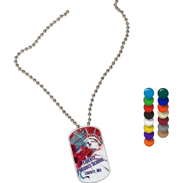 "Full Color On Color Item - Full Color Dog Tag Shape Spirit Tag, 1.12"" X 2"" Photo"