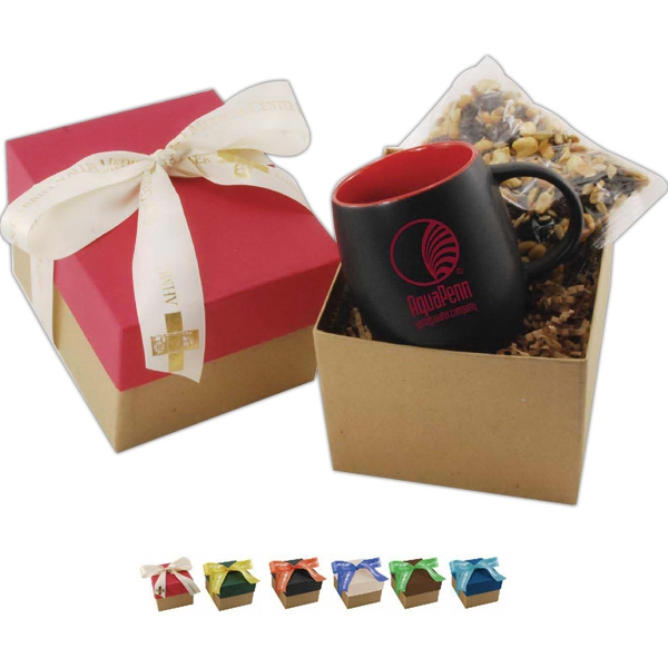 15 oz mug  with snacks in gift box with ribbon