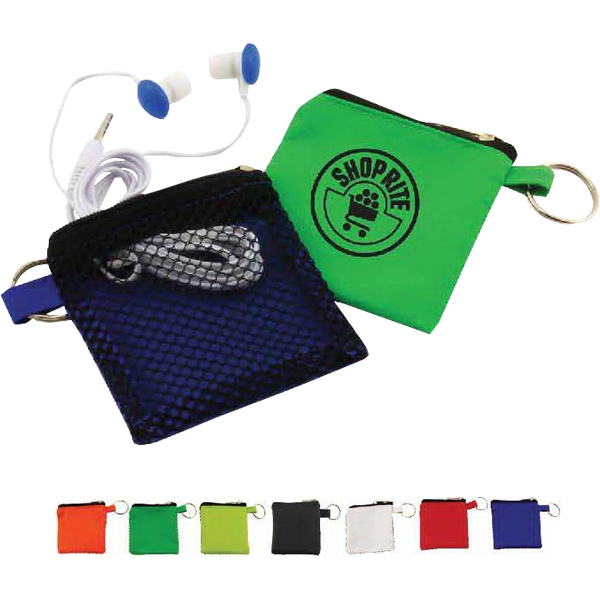 Keyhain pouch with button style earbuds
