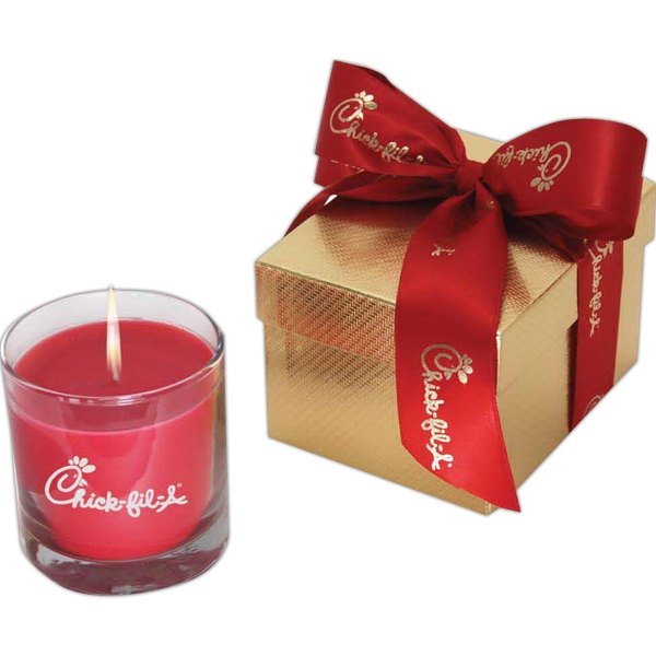 Andromeda - Gift Box And Customized Ribbon With Wax Aromatherapy Candle In 8 Oz. Frosted Glass Photo