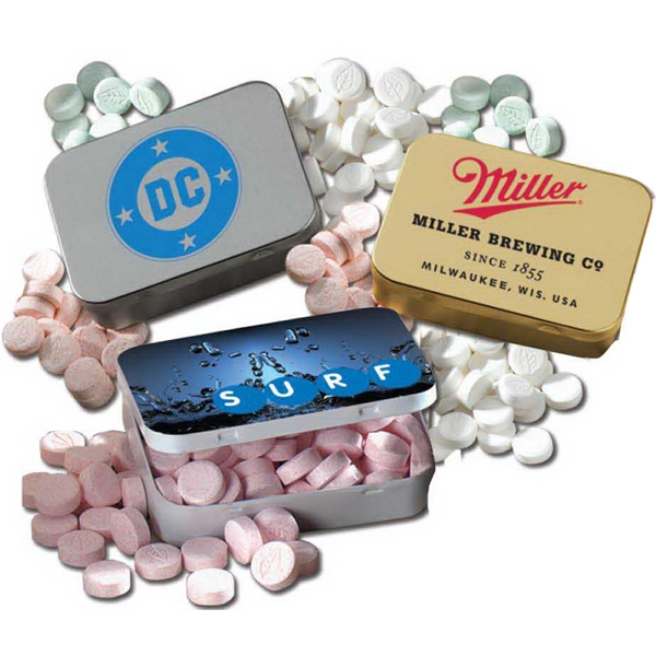 Sugar Free Peppermint Mints in Large Hinged Lozenge Tin - Sugar Free Peppermint Mints in Large Hinged Lozenge Tin