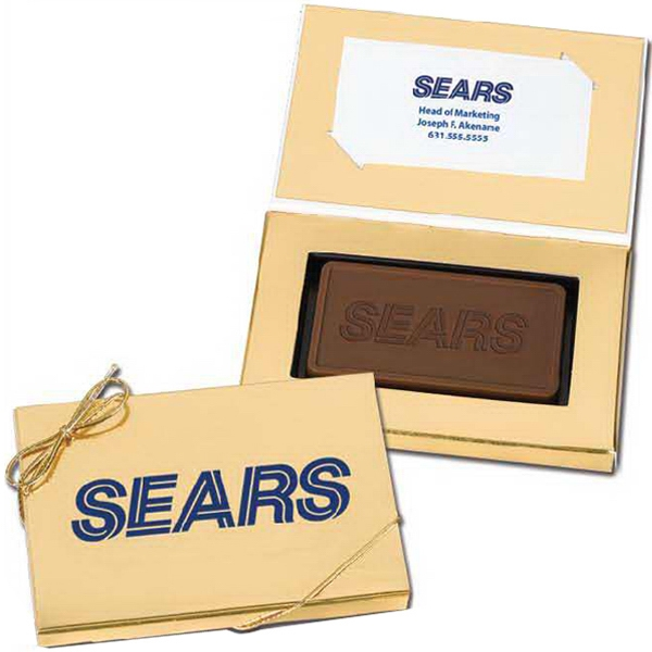 1 oz Custom Chocolate Bar in Business Card Gold Gift Box