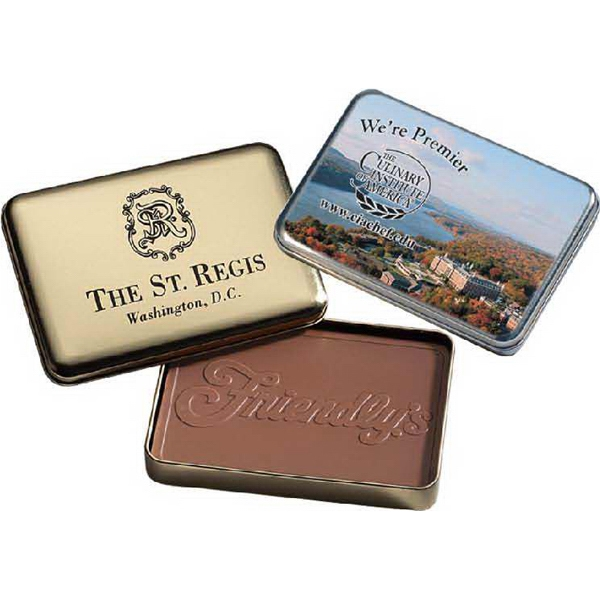 10 oz Custom Molded Chocolate Bar in Gold Metal Tin