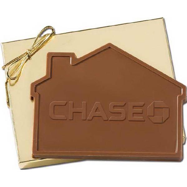 3.2 oz Custom House Shaped Chocolate in Gold Gift Box