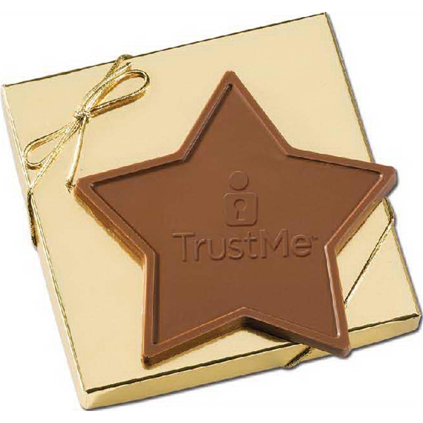 2.5oz Custom Star Shaped Chocolate Bar in Gold Gift Box