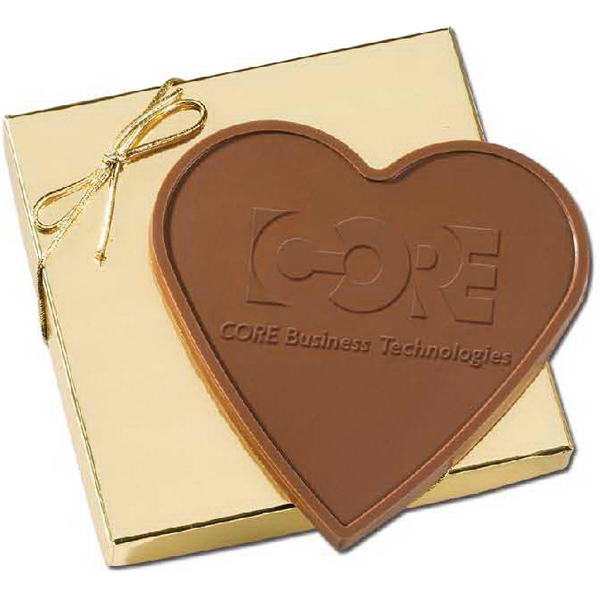 3.4oz Heart Shaped Custom Chocolate Bar in Gold Gift Box