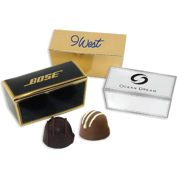 Viola - 3 Day Rush Service - Gift Quality Ballotin Box With 2 Delicious Chocolate Truffles. Kosher Product Photo