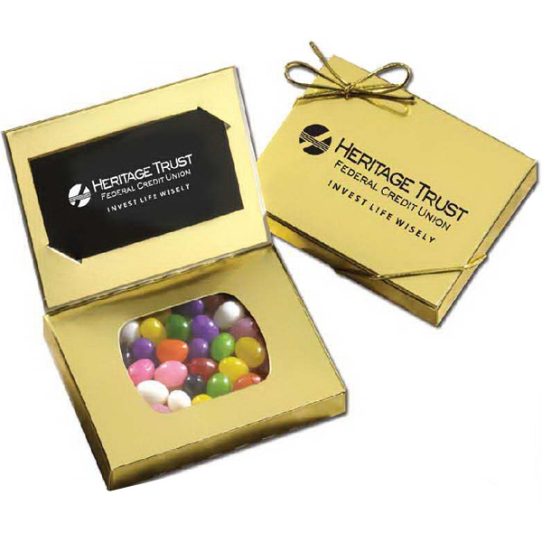 Connection - 5-15 Working Days; Standard - Gold Business Card Box With Your Choice Of Jelly Beans. Kosher Product Photo