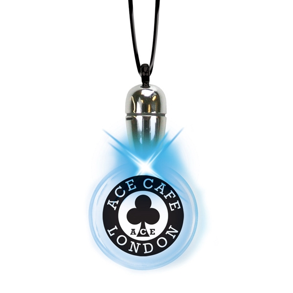 Blue - Round - Tear Drop Blinking Pendant Necklace With Flashing Led Photo