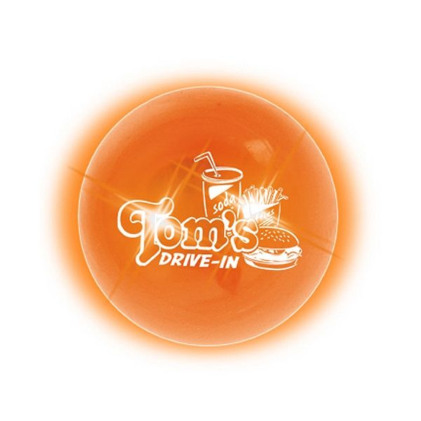 Buzball (tm) - Orange/orange Led - Original Bouncing Ball With Bright Led And Outside Imprint Photo