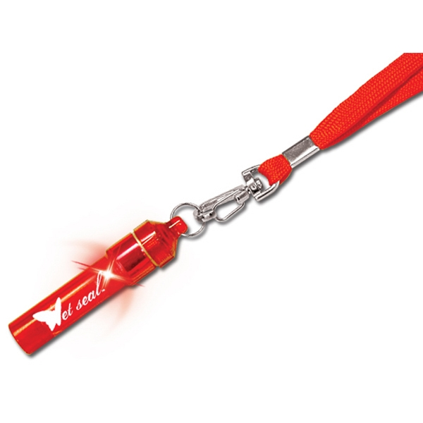 Red - Light Up Lanyard Whistle With Glowing Led Photo