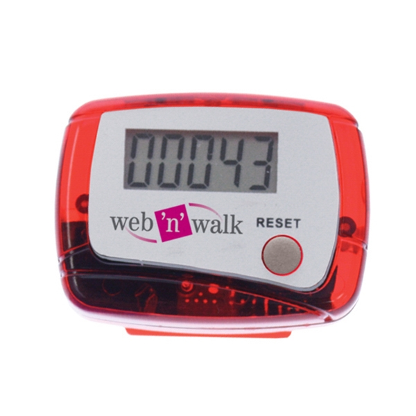 Red - Digital Read Display Pedometer With Step Count Up To 99,999 - Push Button Reset Photo