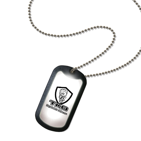 Buzarmy - White - Light Up Dog Tag Necklace With Military Style Chain Photo