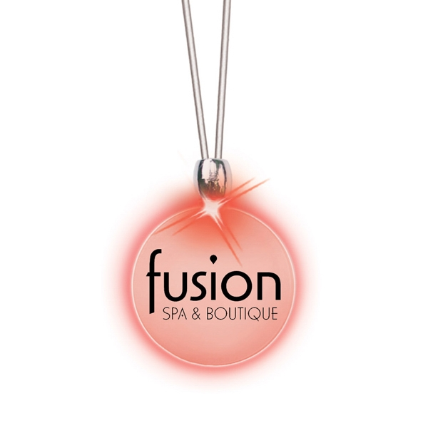 Round/red Led - Frosted Glow Pendant. Constant Glow. Magnetic Safety Clasp Photo
