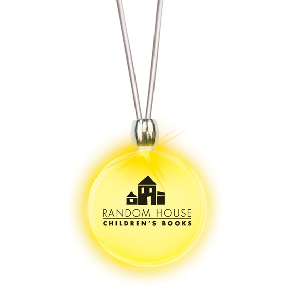 Round/yellow Led - Frosted Glow Pendant. Constant Glow. Magnetic Safety Clasp Photo